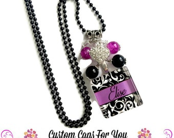 PERSONALIZED  Black Damask And Hot Pink Glass Tile Pendant Necklace Or Keychain With Matching Beads