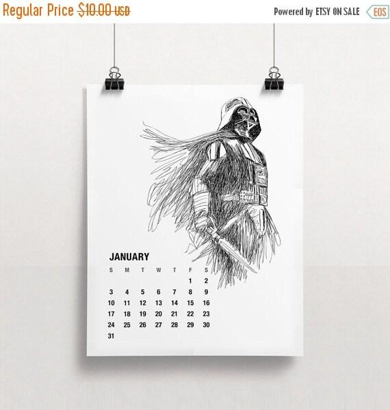 SALE 2016 Calendar, Printable Star Wars Calendar, Holiday Gift ...