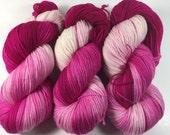 Hand Dyed Yarn, Ultra Soft Merino Superwash, Fingering Yarn, Superwash Merino,Yarn, Tonal yarn, that pink though
