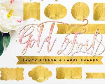 Gold Ribbon & Label Shapes - digital CLiP ART - for photography scrapbook or logos - copper shapes - rose gold designs