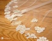 Lace Flower Applique Circle Cut Chapel Length Cage Veil - Sivan Style
