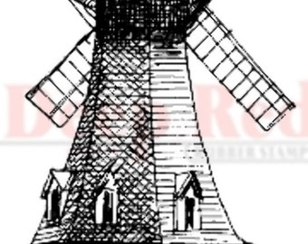 Deep Red Rubber Stamp Windmill
