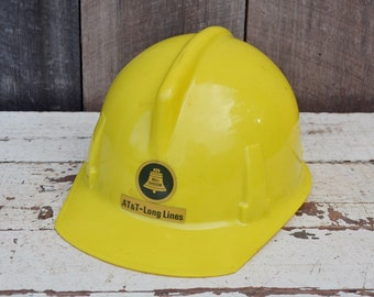 Vintage Yellow Bell System Hard Hat AT & T Long Lines Plastic Helmet Industrial Telephone Repair Safety Gear Costume 1960's