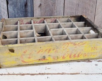 Vintage Coca Cola Soda Crate Yellow Red Coke 24 Dividers 1962 Weathered Wood Handles Rustic Primitive Decor Storage 1960's