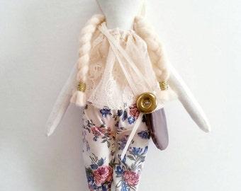 Cloth doll, rag doll,  hippie doll bella, art doll,  girls birthday