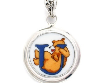 Broken China Jewelry Alphabet Bear Monogram Letter U Sterling Pendant