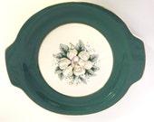Vintage Harker Pottery Magnolia Teal Green Serving Platter