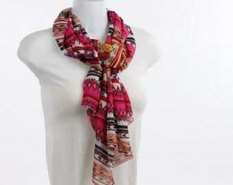 Traditional Scarf Hot Pink Yellow Peach Aztec Native design Chiffon Sheer Long Scarf ~ SH253-L5