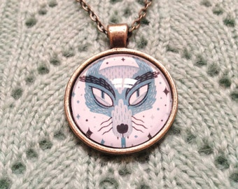 Necklace Pendant - Cosmic Wolf