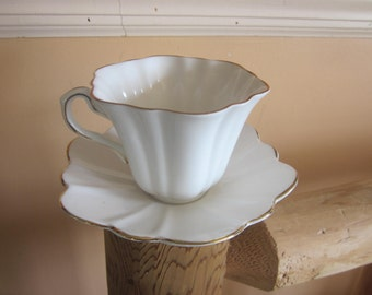 white bone china cup and saucer, england, rosina pattern
