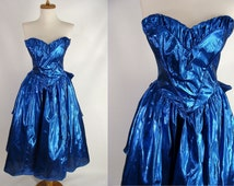 vintage 80s Metallic Sapphire Blue Strapless Sweetheart Prom Party Dress w/ Butt Bow Cyndi Lauper Costume jrs size XXS 00 0 or girls 14/16