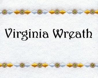 Embroidered Quilt Label Virginia Wreath