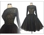 Vintage 1950s Dress // Black // 50s  Dress //Sexy//New Look //Femme Fatale//Rockabilly//Mad Man//Lace Chirron