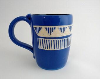 Pottery Mug - Ceramic Mug - Large coffee Mug - Stoneware coffee mug- Holds 12 oz.  - Blue Mug - Ceramic Coffee Mug - Handmade coffee mug