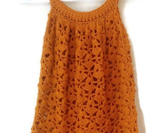 Crochet Dress, Orange Crochet Dress, Cotton Dress, Crochet Summer Dress, Orange Dress, Summer Dress, Burnt Orange, 4-5 Years, Beach Dress