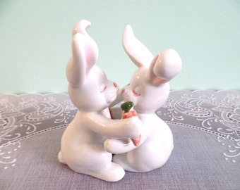 Vintage Salt and Pepper Shakers: Fitz & Floyd Hugging Rabbits Salt and Pepper Shaker Set