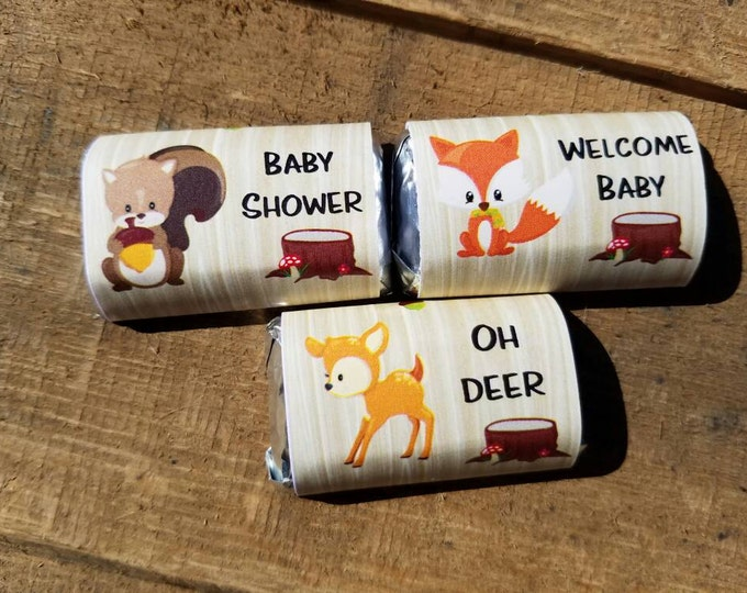 Forest Friends Woodland Theme Animals Baby Shower Party Favors Wrappers -no stickers - Fox Deer Squirrel Mini Chocolate Candy Bar Wraps