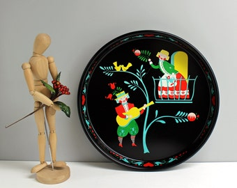 Vintage Bavarian Romeo and Juliet metal serving tray - round tray with printed folk art style scene - Pennsylvania Dutch