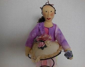art doll, nursery decor, modern primitive, contemporary folk art doll, love theme, heart,  Valentine