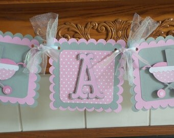 Baby Buggy It's A Girl Shower Banner, Pink, Gray damask Its a girl banner, pink polka dotted baby banner, matching tissue poms are available
