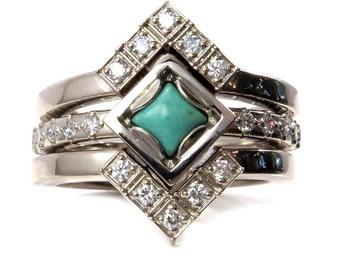 Princess Turquoise Cabochon Diamond Ring Set - Geometric Engagement Rings in 14k Palladium White Gold