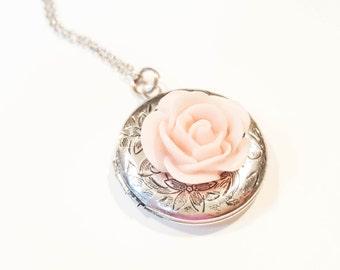 Ballet Pink Rose Locket Necklace - Bridesmaid Necklace - Ballerina Necklace - Custom Locket Necklace -Vintage Antique Silver Locket Necklace