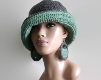 SALE Taupe and Sage Green Cloche/Sun Hat/ Sailor Hat/ Fedora w free crochet earrings /detachable flower clip/ Cotton Blend/ Green and Brown