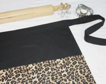 Cheetah and Black Adult Apron