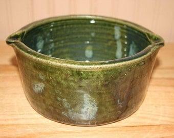 Handmade green casserole, baking dish, serving dish