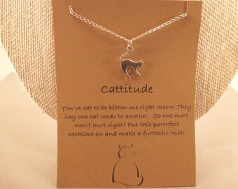 Cat Necklace: Cat Charm Wish Necklace, Cattitude, Crazy Cat Lady, Cat Lover, Cat Lady, Meow, Cat Charm, Cat Jewelry