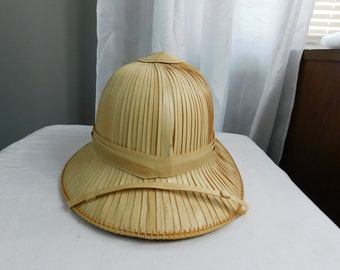 Straw Made Jungle or Safari Pith Helmet From Vietnam