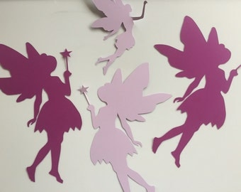 Ready to ship, 4 paper fairies in plum and lilac, purple room decor, fairy theme room