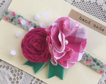 Pink Spring Baby Headband - Gingham and Turquiose