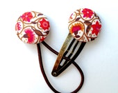 Hair Clip and Tie Set - Liberty of London - Pink and Bronze Floral SPECIAL PRICE