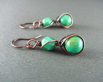 Wire Wrapped Earrings Teal Green Earrings Copper Earrings Wire Wrapped Jewelry Copper Wire Herringbone Wrapped