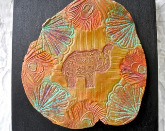 Elephant Art, Ceramic Wall Art, India inspired, Art Tile, Elephant Art Tile, Peacock Feather, Pottery Tile, India Decor,  Elephant decor