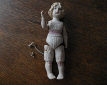 Antique Reproduction Vintage 1980s Porcelain/Bisque German China Jointed Legs/Arms Doll Victorian Looking Pink Small