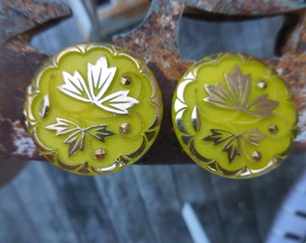 Vintage Large Yellow Glass Clip on Earrings Non Pierced Gold Leaves Round Big 1950s to 1960s