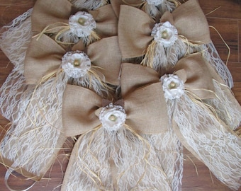 Burlap large bows for chair pew aisle, Rustic wedding decoration, Country wedding table decorations, burlap rustic bows with lace and raffia