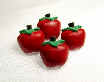 "Adorable Apples: 9/16"" (14mm) Resin Buttons - Set of 4 Matching Vintage Buttons"