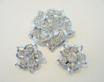 Vintage Glass Rhinestone Brooch / Earring Set Silver Plated Tone Clear Retro Deco 1960's Art Deco Statement Runway