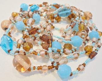 """Vintage Serenity Blue & Amber GLASS Necklace Flapper 60"""" Retro Seed Beads Boho Beach Statement Art Deco Runway"""