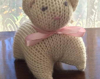 Knitted Cat Waldorf-Inspired Toys 5-inch Knit Kitten **White**