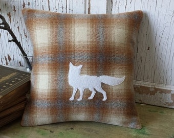 Plaid Fox Pillow Cover - Silhouette, Recycled Wool, 12 Inch - FREE SHIPPING