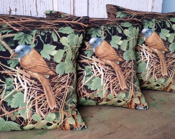 Bird Nest Pillow Cover - Vibrantly Colored Cotton, 12 Inch - FREE SHIPPING
