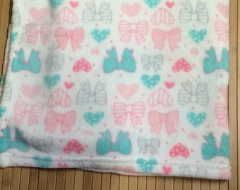 Personalized Baby Girl Pretty Bows Blanket Monogrammed *Last One*