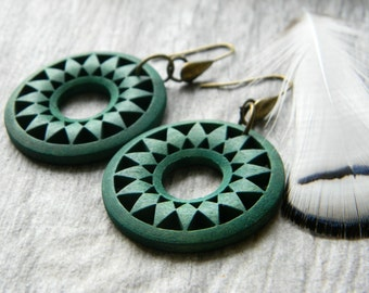 Bohemian earrings wood hoop earrings gypsy earrings hippie jewelry boho style unique dangle earrings summer jewelry
