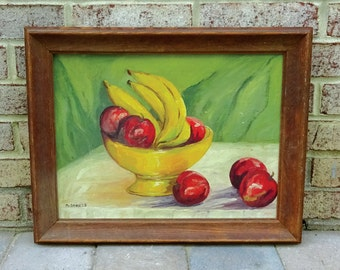 Mid Century Original 1960's Still Life Oil Painting of Apples and Bananas in a Yellow Bowl