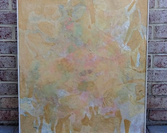 Mid Century Modern Mixed Media Collage signed by artist Lantzy