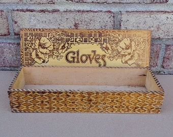 Vintage 1940's Victorian Wooden Gloves Box